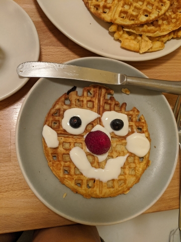 waffle with face made from food