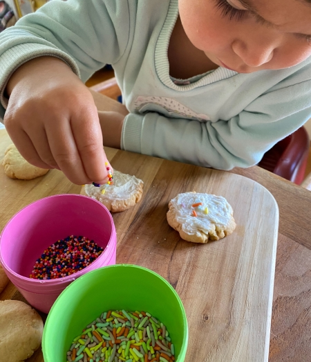 Keep kids busy while using up all those long stored baking ingredients. Butter, sprinkles, flour, icing, frosting, brown bananas are having their moment.
