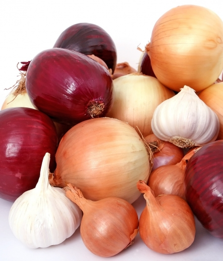 Store onions and garlic in a cool dry place in a container or paper bag that allows air to circulate.
