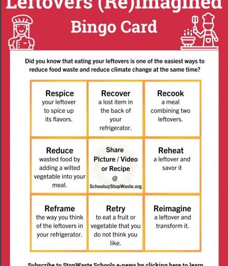 bingo card, leftovers